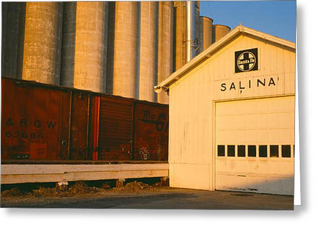Grain Silo Railroad Station, Salina Greeting Card by Panoramic Images