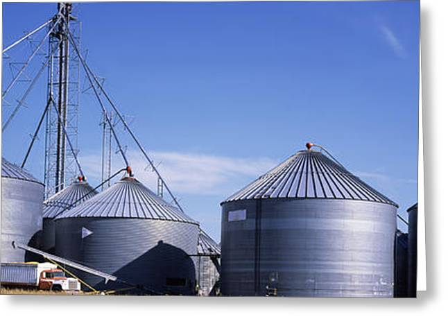 Grain Storage Bins, Nebraska, Usa Greeting Card by Panoramic Images