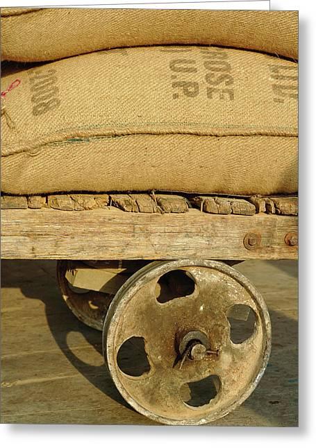 Grains In Burlap Sacks On Primitive Greeting Card