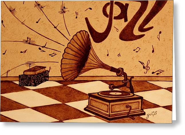 Gramophone Playing Jazz Music Painting With Coffee Greeting Card by Georgeta  Blanaru