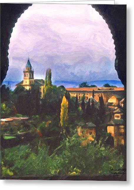 Granada Through The Keyhole Greeting Card by Spyder Webb