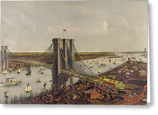 Grand Birds Eye View Of The Great East River Suspension Greeting Card