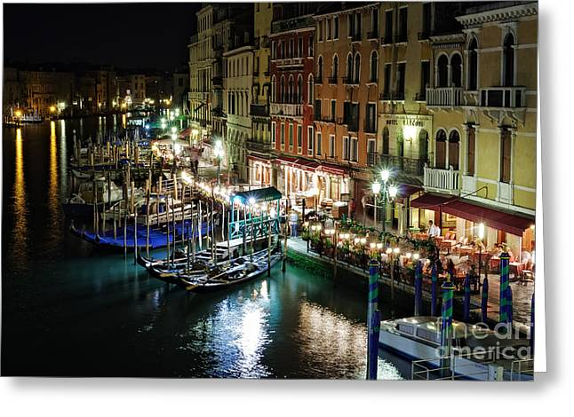 Grand Canal At Night. Venice Greeting Card by Rostislav Bychkov