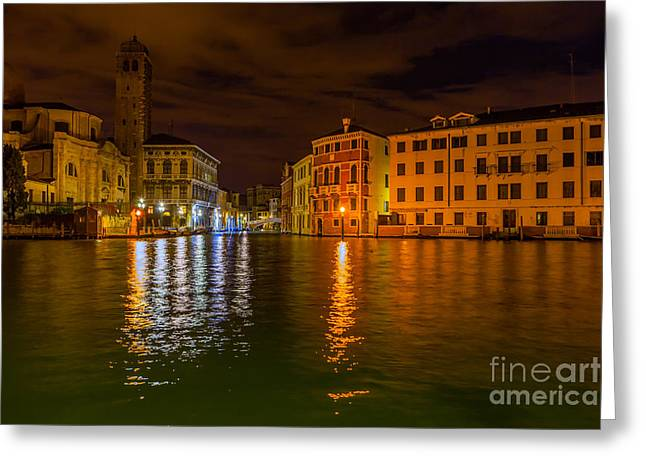 Grand Canal In Venice At Night Greeting Card by Paul Cowan