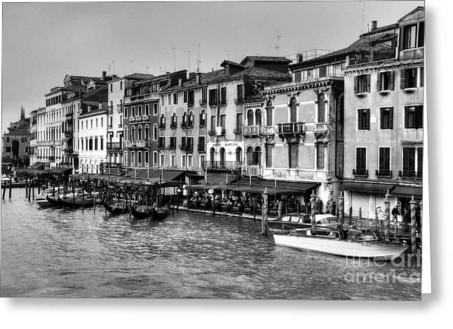 Grand Canal In Venice Bw Greeting Card by Mel Steinhauer