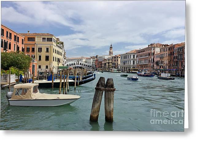 Grand Canal In Venice Near Rialto Bridge Greeting Card by Kiril Stanchev