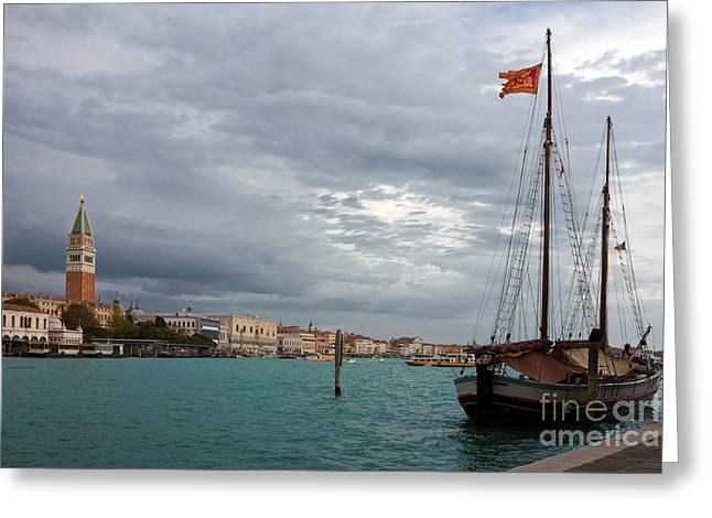Grand Canal Panoramic View Of St. Mark's Square In Venice Greeting Card by Kiril Stanchev