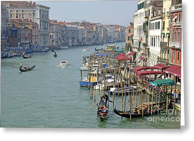 Grand Canal Viewed From Rialto Bridge Greeting Card by Sami Sarkis