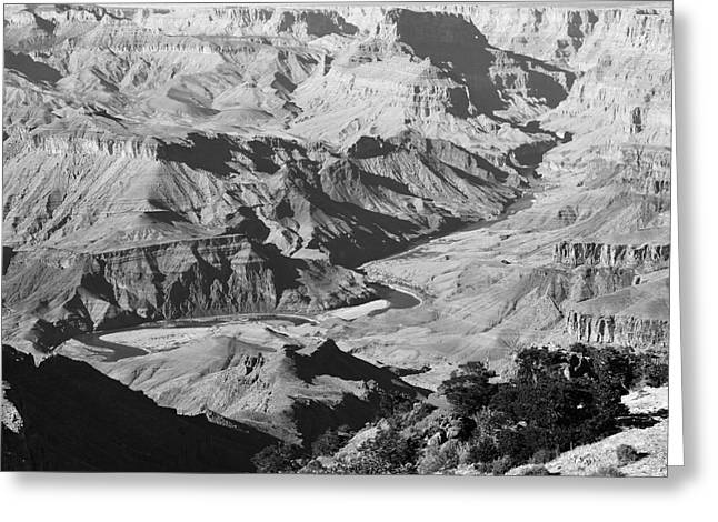Grand Canyon Eastern Sunset View Square Black And White Greeting Card by Shawn O'Brien