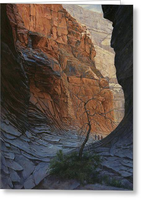 Arizona Hike Into Canyon  Greeting Card by Don  Langeneckert
