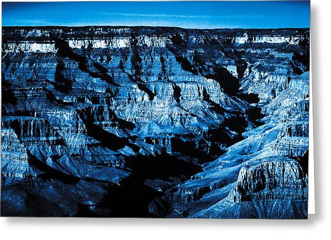 Grand Canyon In Blue Greeting Card by Bartz Johnson
