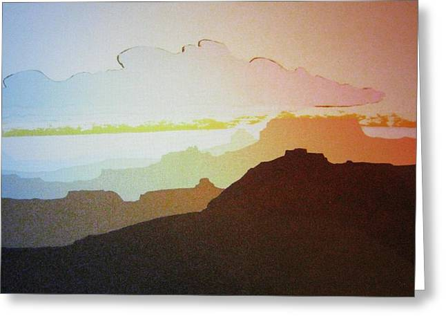 Greeting Card featuring the painting Grand Canyon by John  Svenson