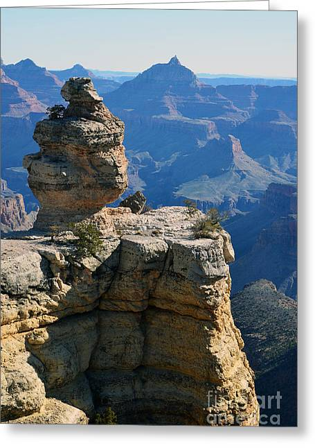 Grand Canyon National Park Cap Rock Formation And Vertical Vista Greeting Card