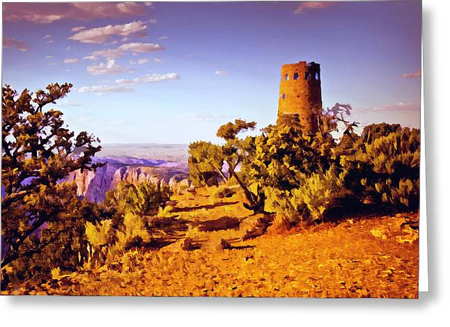 Greeting Card featuring the painting Grand Canyon National Park Golden Hour Watchtower by Bob and Nadine Johnston