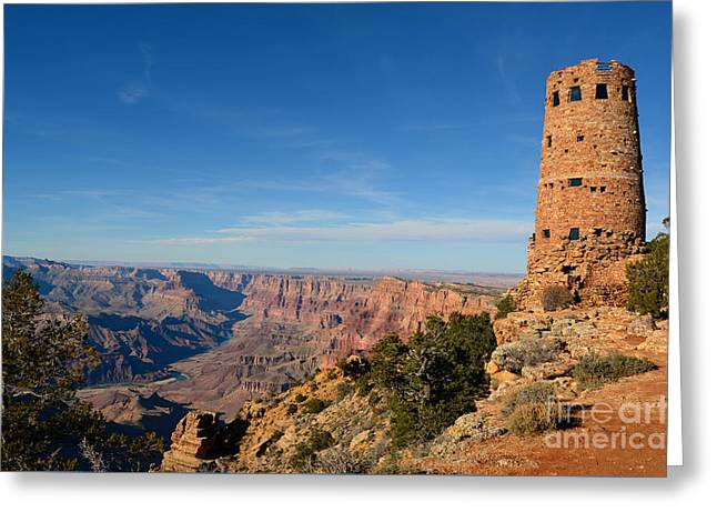 Grand Canyon National Park Mary Colter Designed Desert View Watchtower Near Sunset Greeting Card by Shawn O'Brien