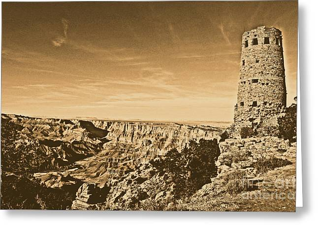 Grand Canyon National Park Mary Colter Designed Desert View Watchtower Rustic Greeting Card by Shawn O'Brien