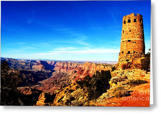 Grand Canyon National Park Mary Colter Designed Desert View Watchtower Vivid Greeting Card by Shawn O'Brien
