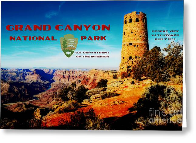 Grand Canyon National Park Poster Desert View Watchtower Retro Future Greeting Card by Shawn O'Brien