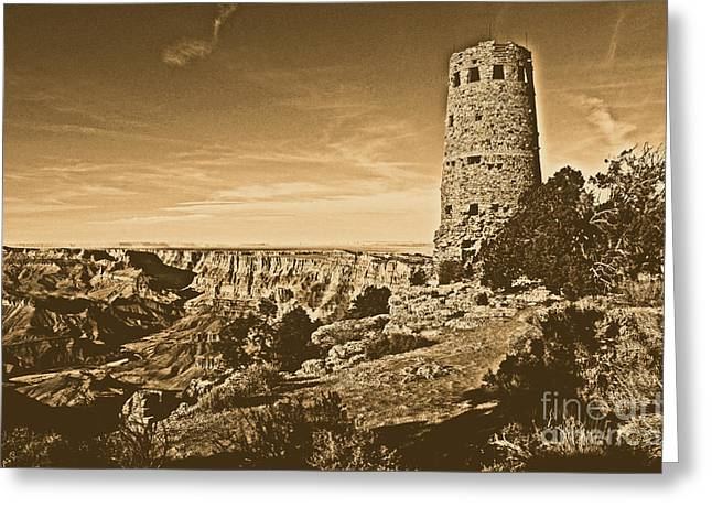 Grand Canyon National Park South Rim Mary Colter Designed Desert View Watchtower Rustic Greeting Card by Shawn O'Brien