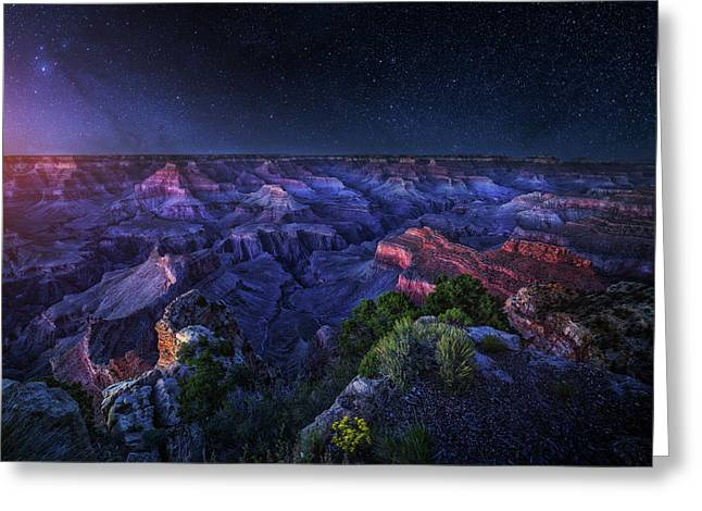Grand Canyon Night Greeting Card by Juan Pablo De