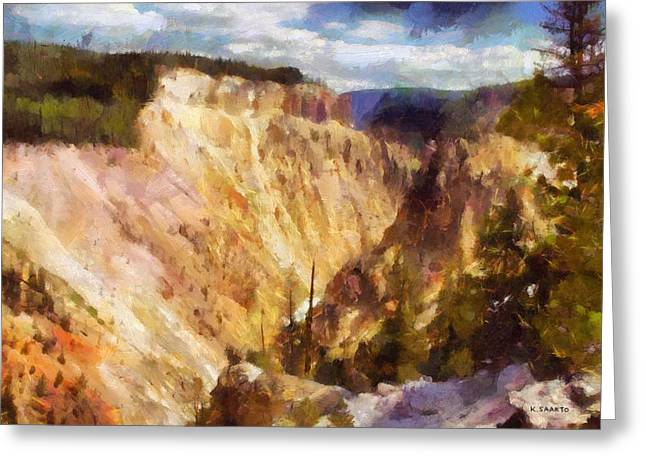 Greeting Card featuring the painting Grand Canyon Of Yellowstone 2 by Kai Saarto