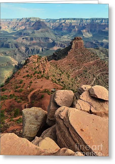 Grand Canyon South Kaibab Trail Overlooking Cedar Ridge Vertical Greeting Card by Shawn O'Brien