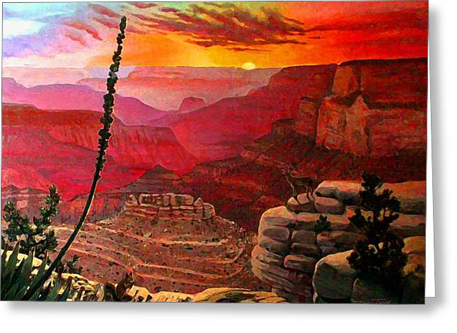 Grand Canyon Sunset Greeting Card by Dan Terry