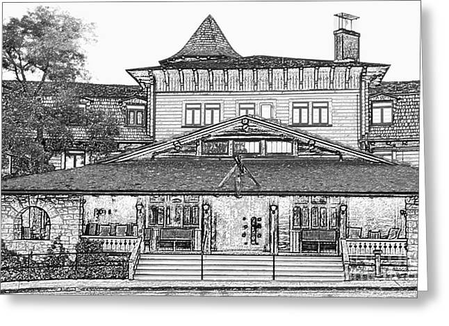 Grand Canyon Village Premier El Tovar Hotel At Dusk Black And White Colored Pencil Greeting Card