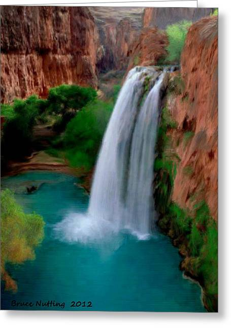 Greeting Card featuring the painting Grand Canyon Waterfalls by Bruce Nutting