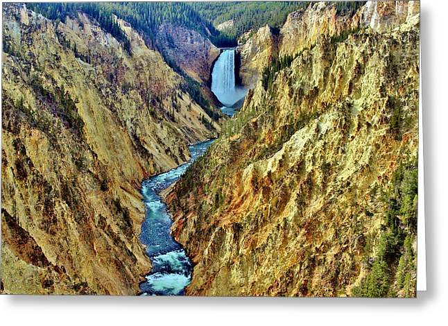 Greeting Card featuring the photograph Grand Cayon Of The Yellowstone River by Benjamin Yeager
