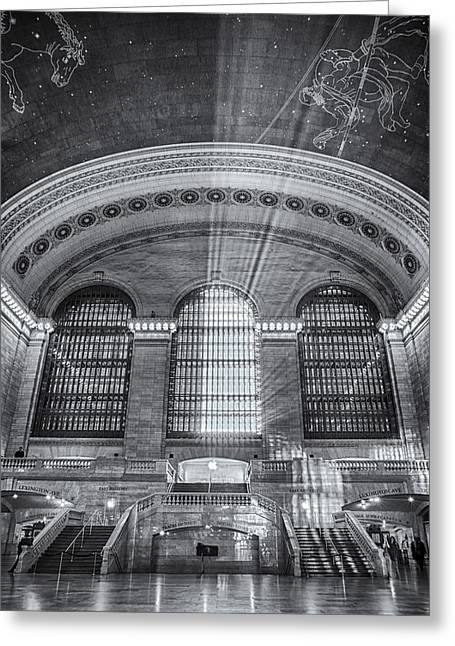 Grand Central Station Bw Greeting Card by Susan Candelario