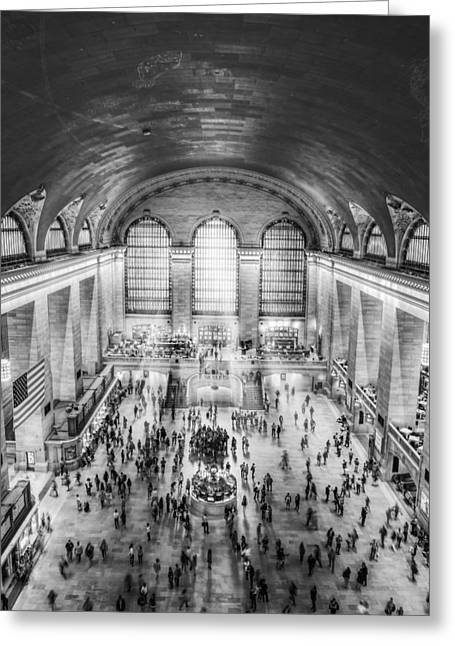 Grand Central Terminal Birds Eye View Bw Greeting Card by Susan Candelario