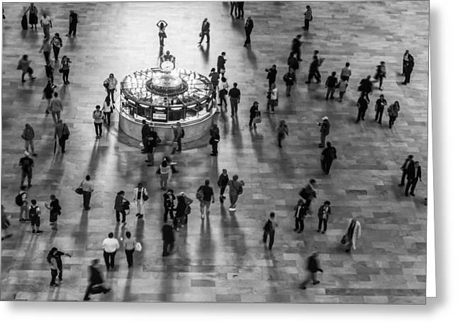 Grand Central Terminal Clock Birds Eye View II Bw Greeting Card by Susan Candelario