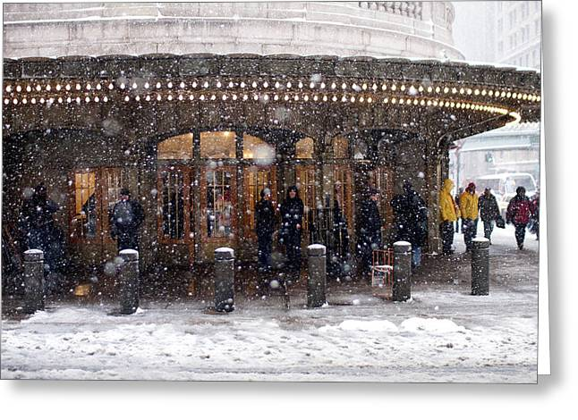Greeting Card featuring the photograph Grand Central Terminal Snow Color by Dave Beckerman