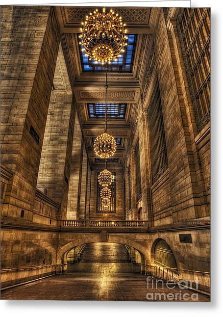 Grand Central Terminal Station Chandeliers Greeting Card by Susan Candelario