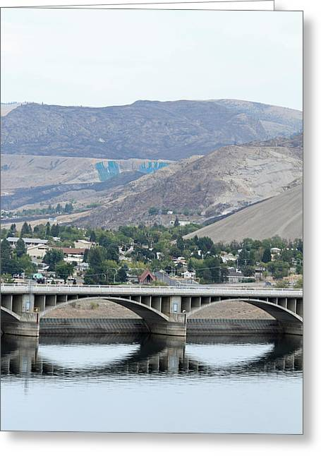 Greeting Card featuring the photograph Grand Coulee Dam And Coulee City by E Faithe Lester