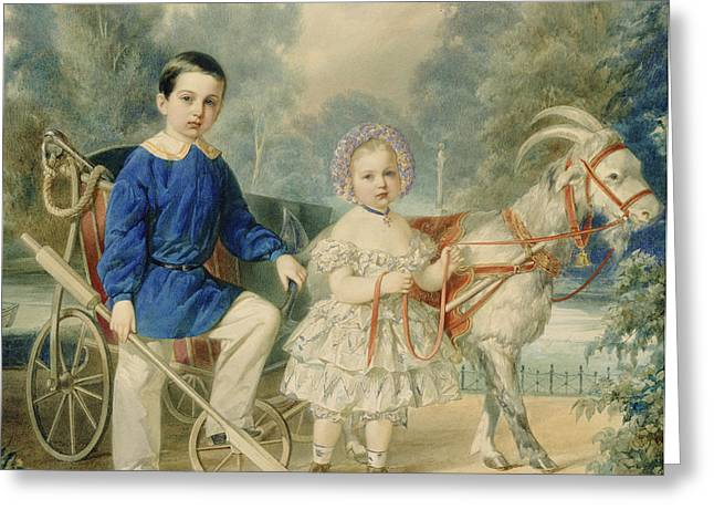 Grand Duke Alexander And Grand Duke Alexey As Children Greeting Card by Vladimir Ivanovich Hau