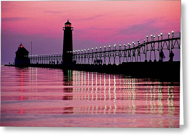 Grand Haven Light Greeting Card by Dennis Cox WorldViews