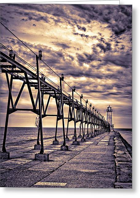 Grand Haven Lighthouse And Pier, Grand Greeting Card