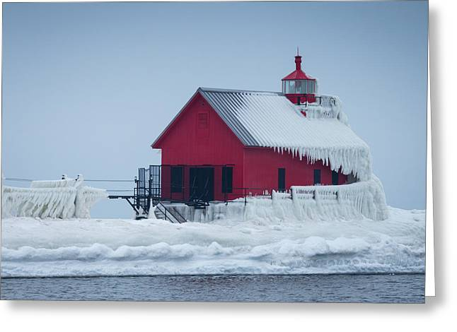 Grand Haven Lighthouse Encased In Ice Greeting Card