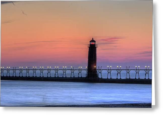 Grand Haven Lighthouses And Pier Greeting Card