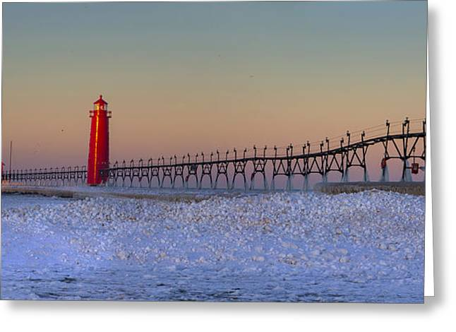 Grand Haven Pier At Sunrise Greeting Card
