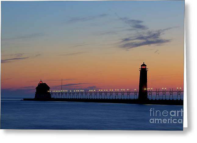 Grand Haven Pier At Sunset Greeting Card by Twenty Two North Photography