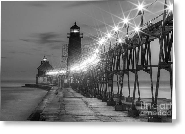 Grand Haven Pier In Black And White Greeting Card