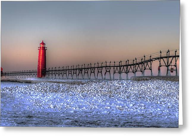 Grand Haven Winter Panorama Greeting Card