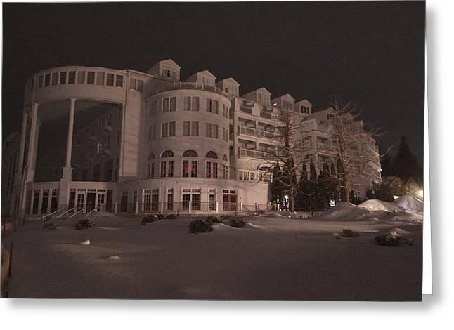Grand Hotel On A Winter Night Greeting Card