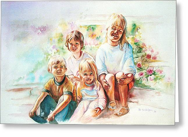 Greeting Card featuring the painting Grand Kids by Patricia Schneider Mitchell