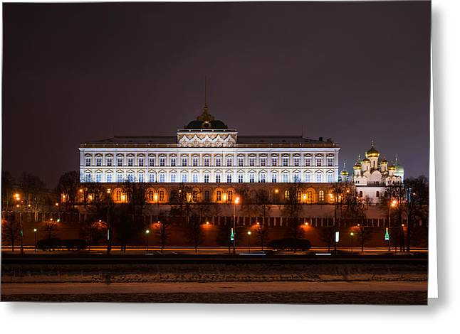 Grand Kremlin Palace At Night Greeting Card