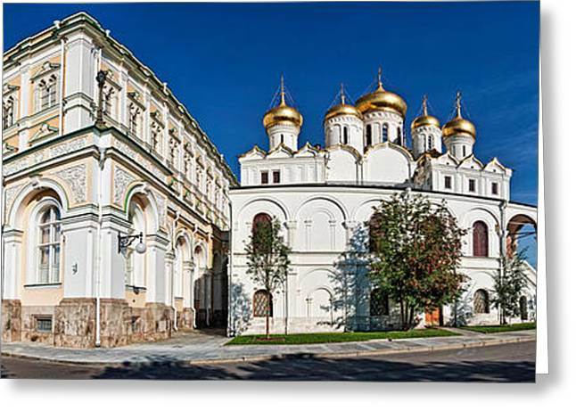 Grand Kremlin Palace With Cathedrals Greeting Card by Panoramic Images