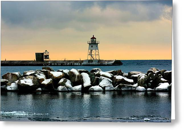 Grand Marais Lighthouse Greeting Card by Amanda Stadther
